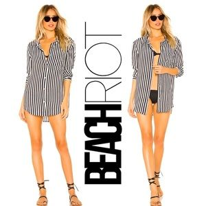 Beach Riot Striped Button Up Cover-Up
